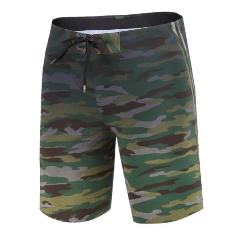 New Heat-Seal V-Waist Block 18 Outseam Men Board Shorts Green Camouflage On Sale
