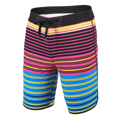 New V-Waist Block 19 Outseam Men Board Shorts Rose Black Blue Yellow Lines